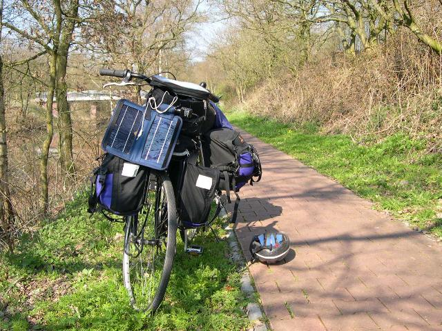 loaded bike with solar panel