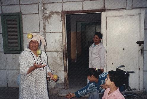 Juggling Egyptian woman