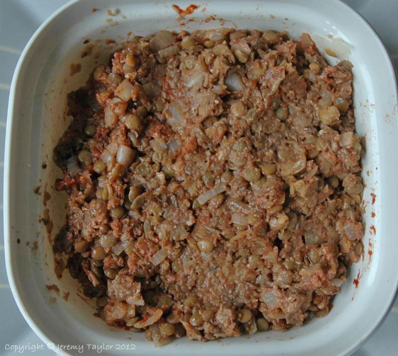 lentil burgers - the mix