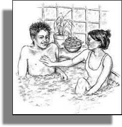 Bruno, the anti-hero, with Jenn in the jacuzzi