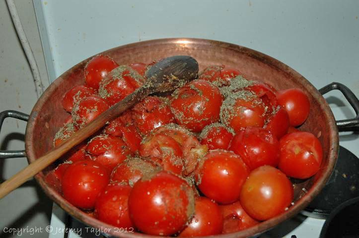 tomatoes in saucepan